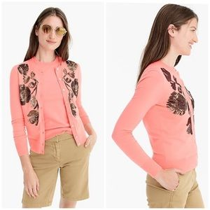 J. Crew sequin embroidered cotton Jackie cardigan